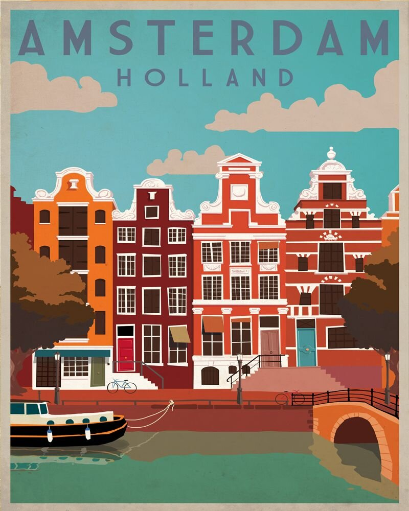 Vintage Metal Sign - Retro Advertising - Amsterdam Travel, Signage by Low Cost Gifts
