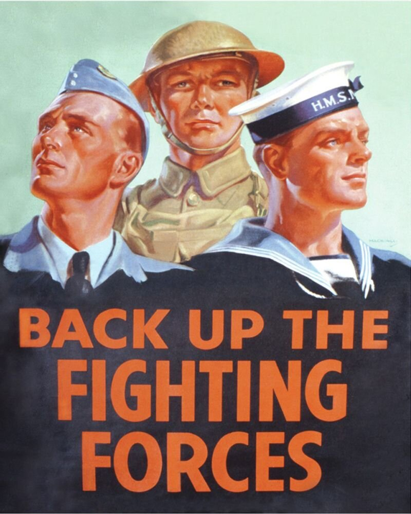 Vintage Metal Sign - Retro Propaganda - Back Up The Fighting Forces, Signage by Low Cost Gifts