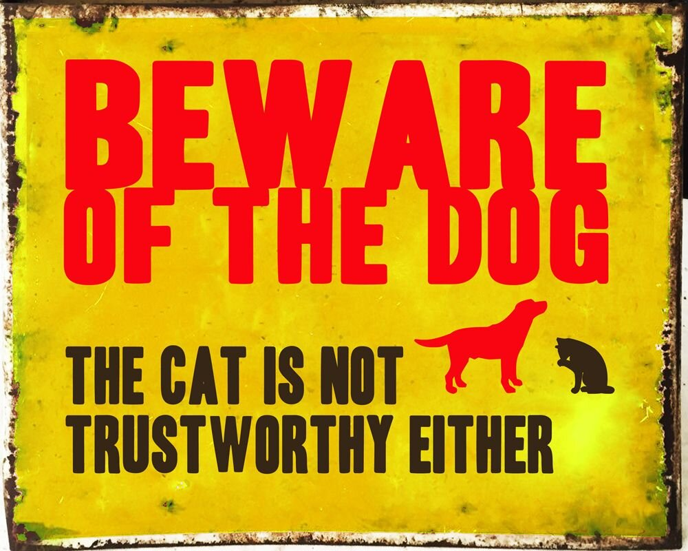 Vintage Metal Sign - Beware Of The Dog, Signage by Low Cost Gifts