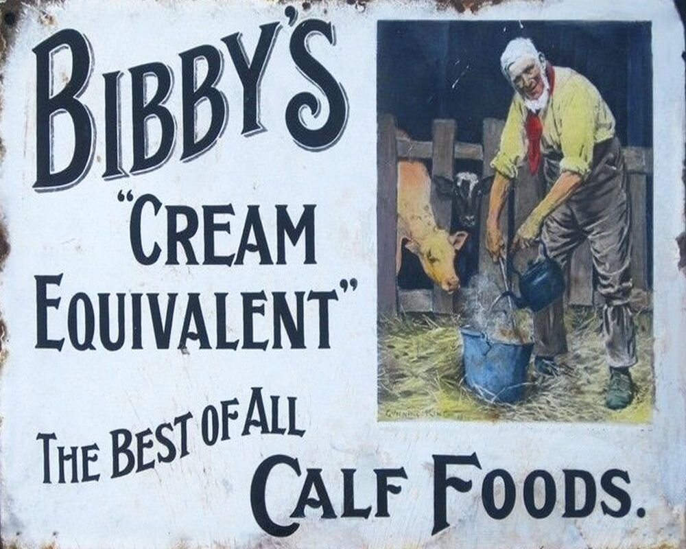 Vintage Metal Sign - Retro Advertising - Bibby's Calf Foods, Signage by Low Cost Gifts