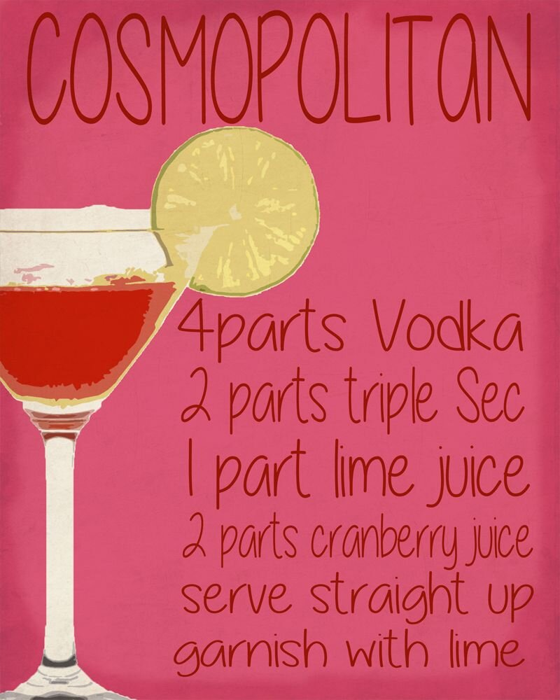 Vintage Metal Sign - Cosmopolitan Cocktail Recipe, Signage by Low Cost Gifts