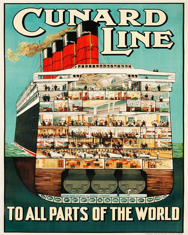 Vintage Metal Sign - Retro Advertising - Cunard Line, Signage by Low Cost Gifts