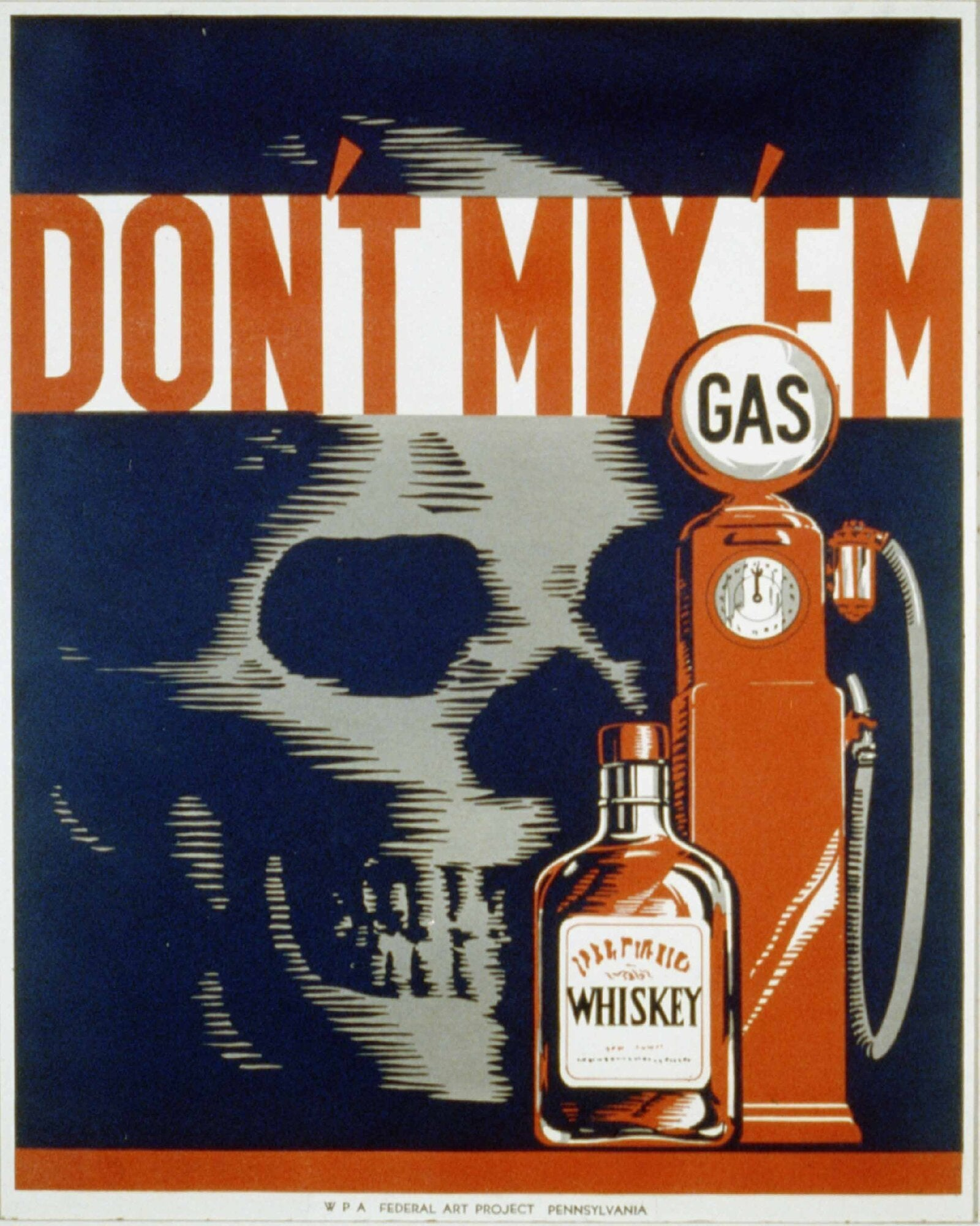 Vintage Metal Sign - Retro Advertising - Skull Gas Whiskey, Signage by Low Cost Gifts