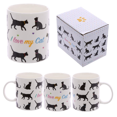 Fun New Bone China Mug - I Love My Cat