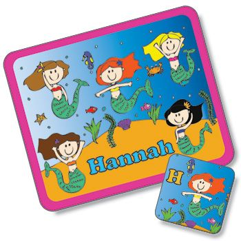 Mermaid Design Placemat and Coaster Set