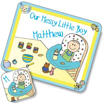 Messy Boy Design Placemat and Coaster Set