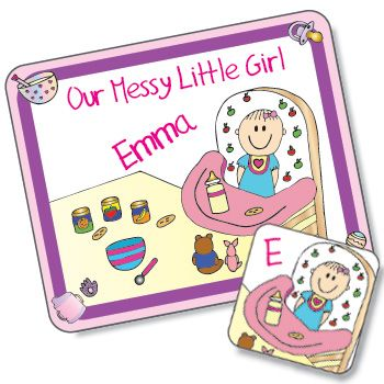 Messy Little Girl Design Placemat and Coaster Set