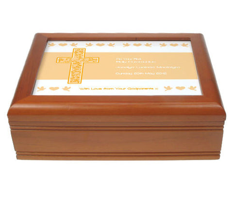 Warm Beige First Holy Communion Jewellery Box | ShaneToddGifts.co.uk
