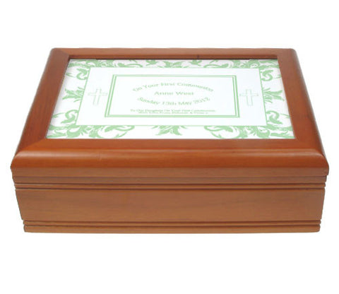 Mint Green First Holy Communion Jewellery Box | ShaneToddGifts.co.uk