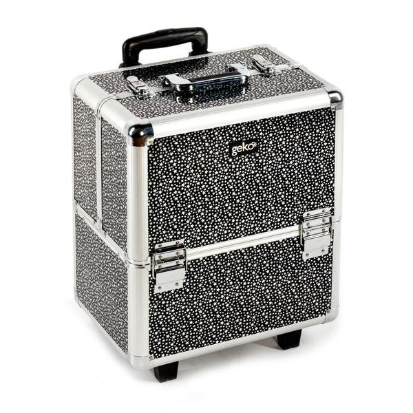 Beautician Makeup Trolley Box Black + Silver Stars