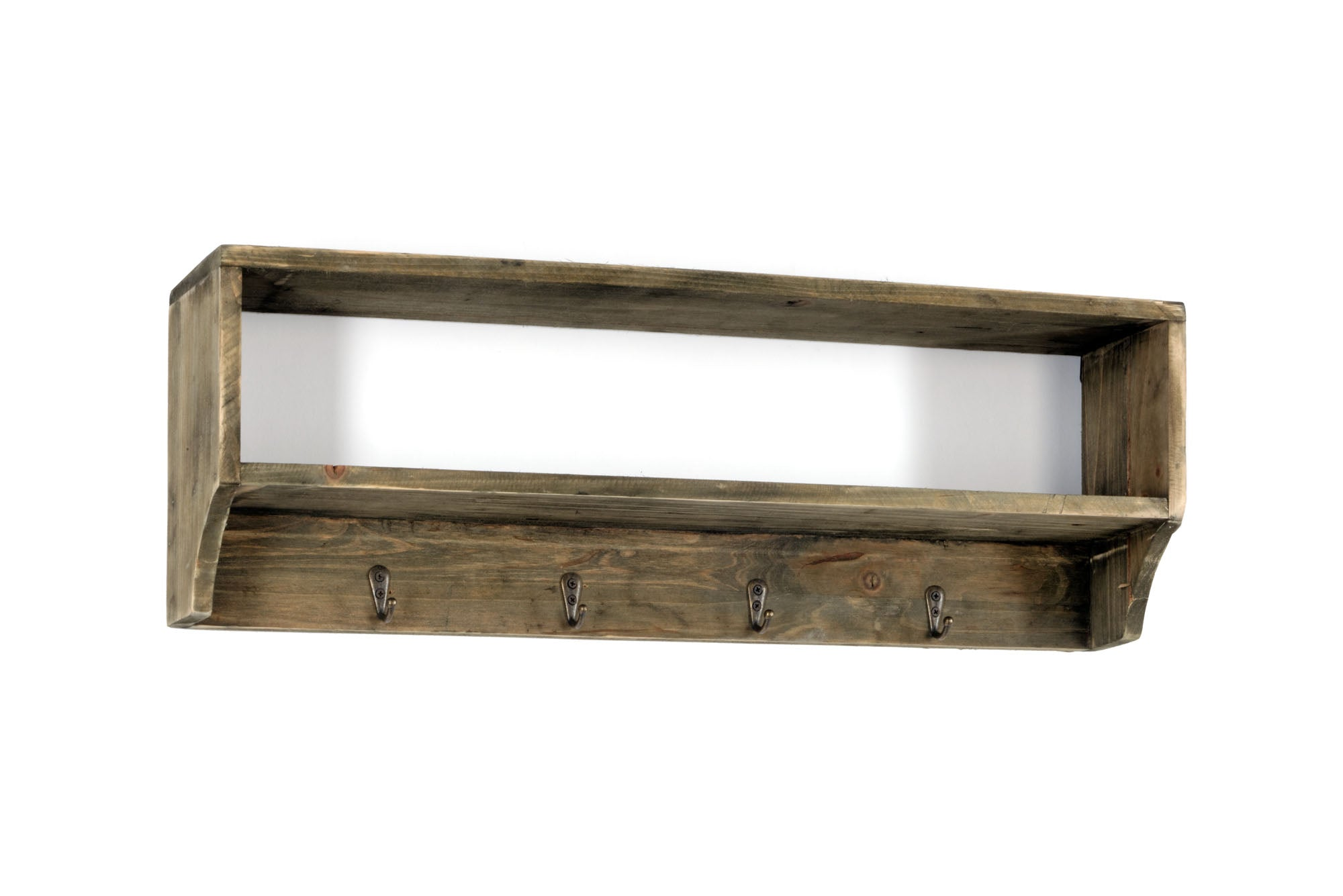Wooden Wall Shelf with 4 Hooks 54 x 10 x 18 cm