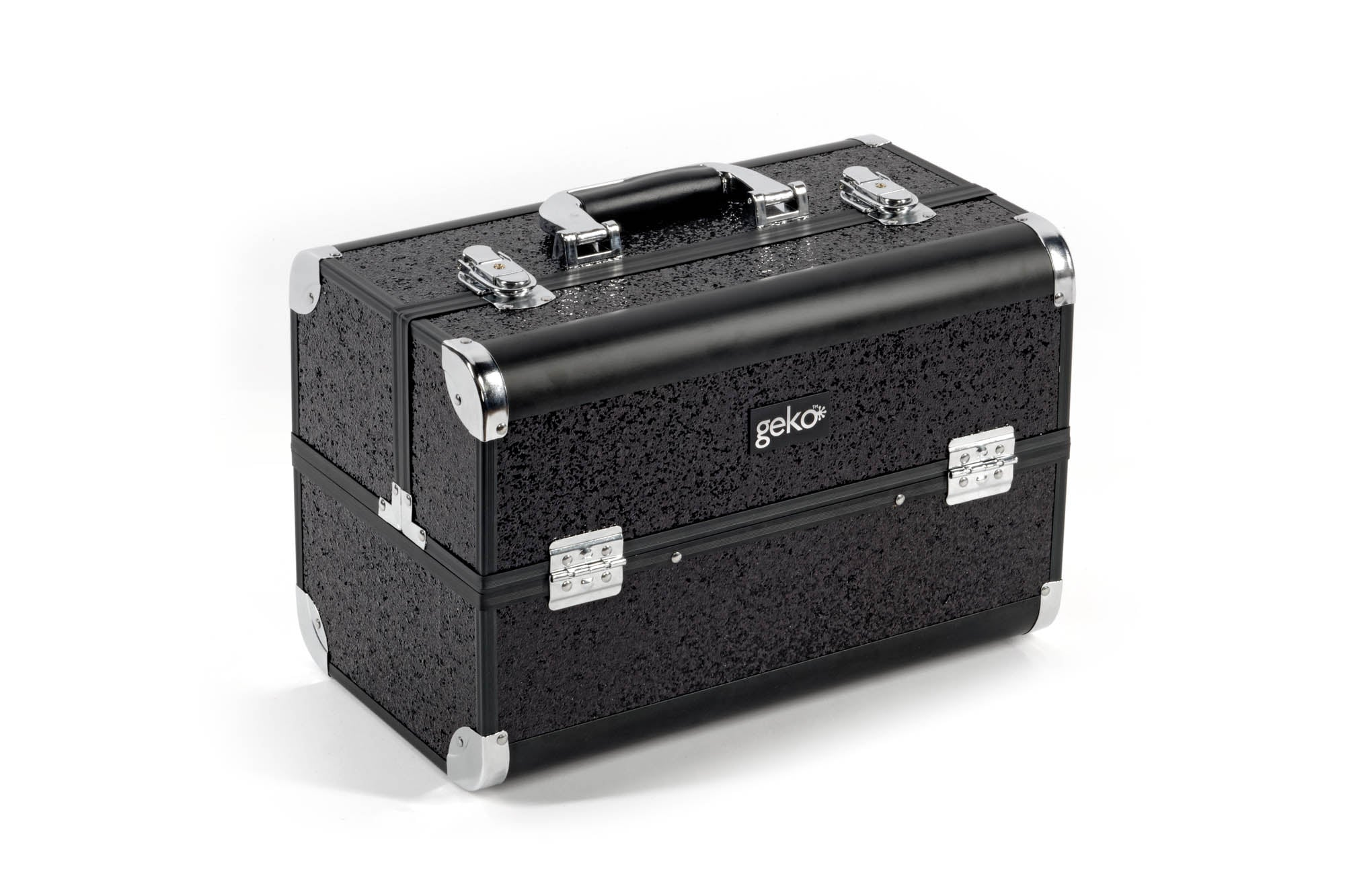 Vanity Case / Makeup Box Heavy Duty Black Glitter, Makeup Tools by Low Cost Gifts