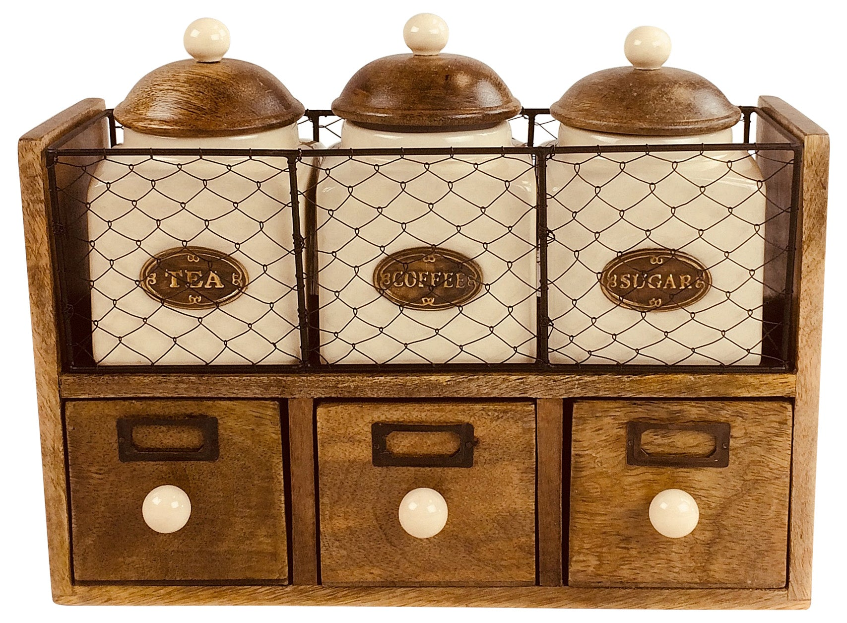 Wooden Cabinet With 3 Jars & Drawers, Furniture by Low Cost Gifts