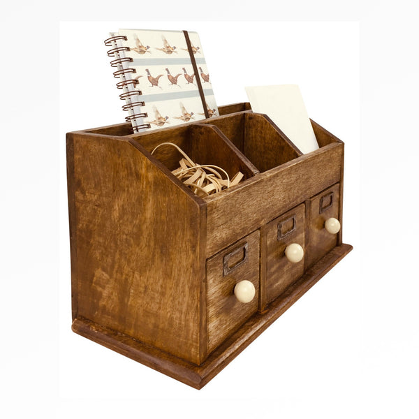 Rustic Desktop Organiser With Drawers 37cm