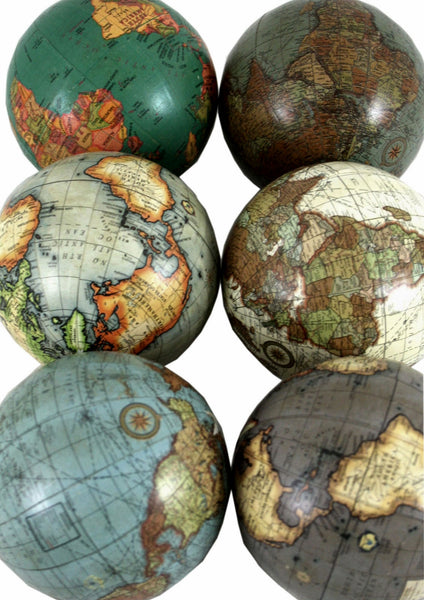 Set of 6 x 3 Inch Decorative Globes In Assorted Colours