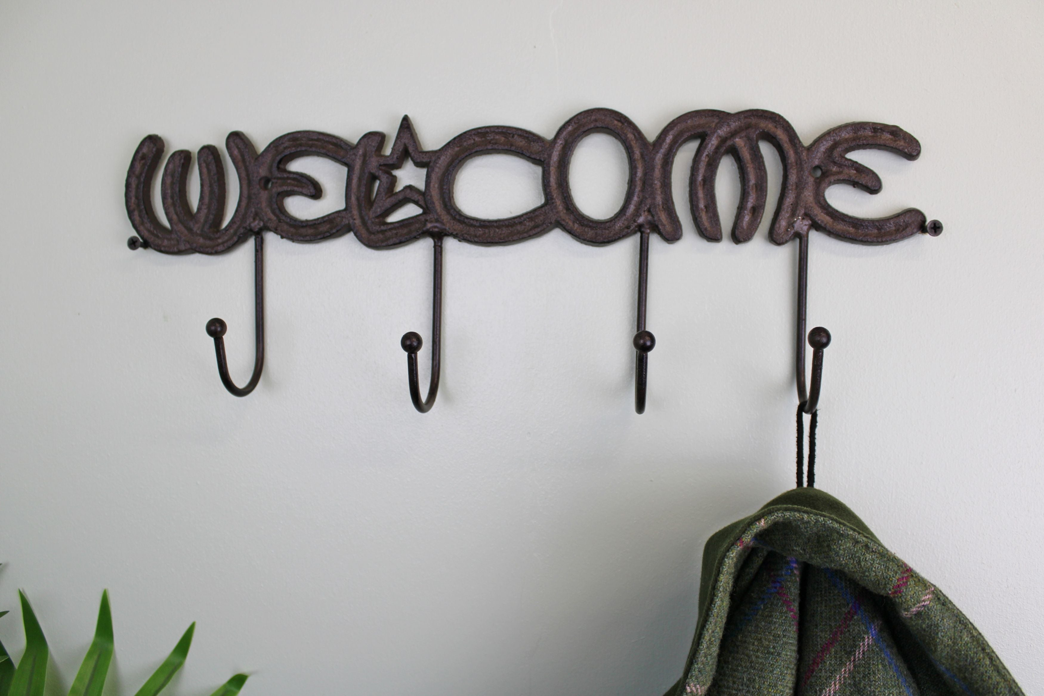 Rustic Cast Iron Wall Hooks, Welcome, Clasps & Hooks by Low Cost Gifts