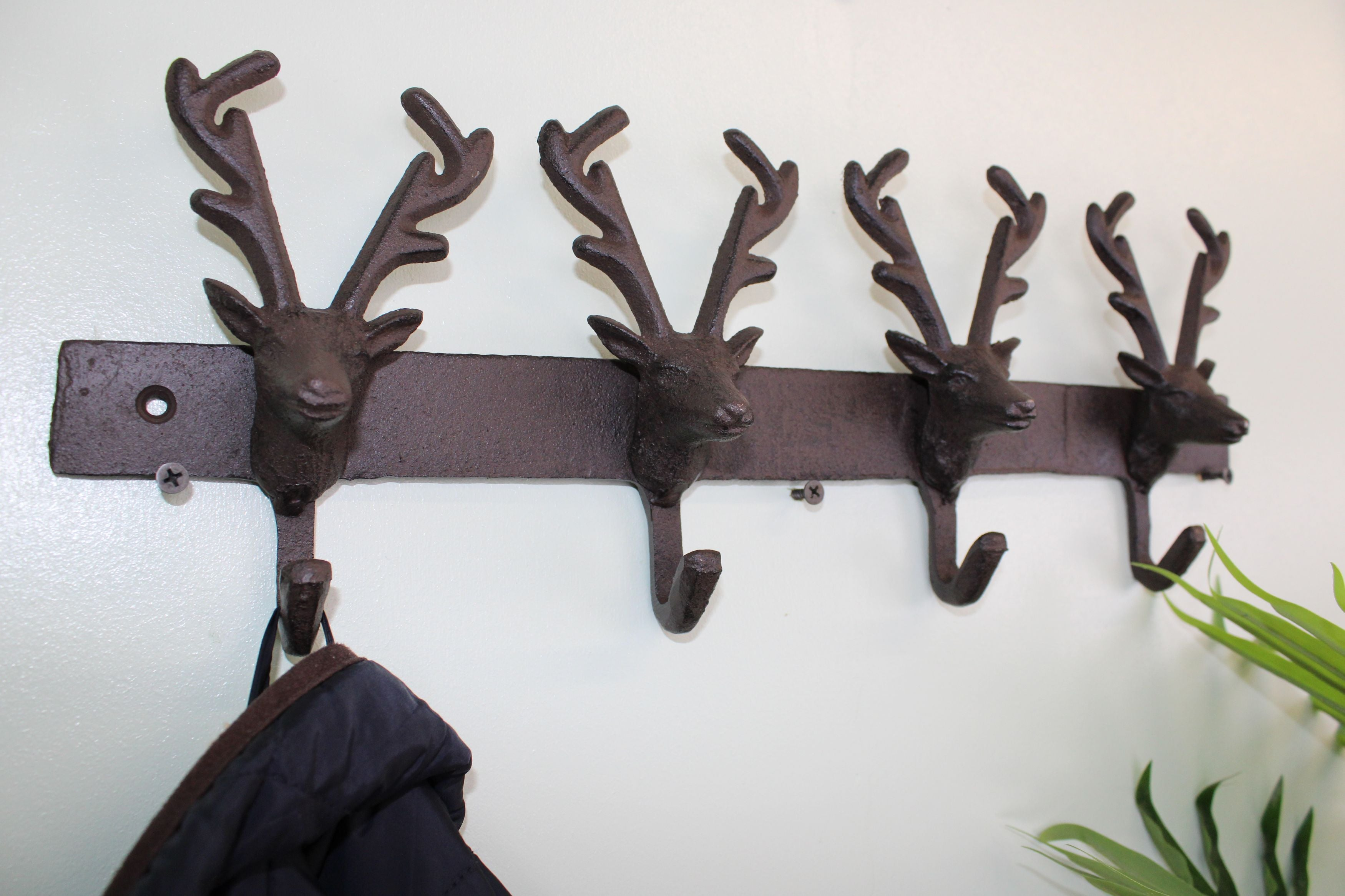 Rustic Cast Iron Wall Hooks, Reindeer, Clasps & Hooks by Low Cost Gifts