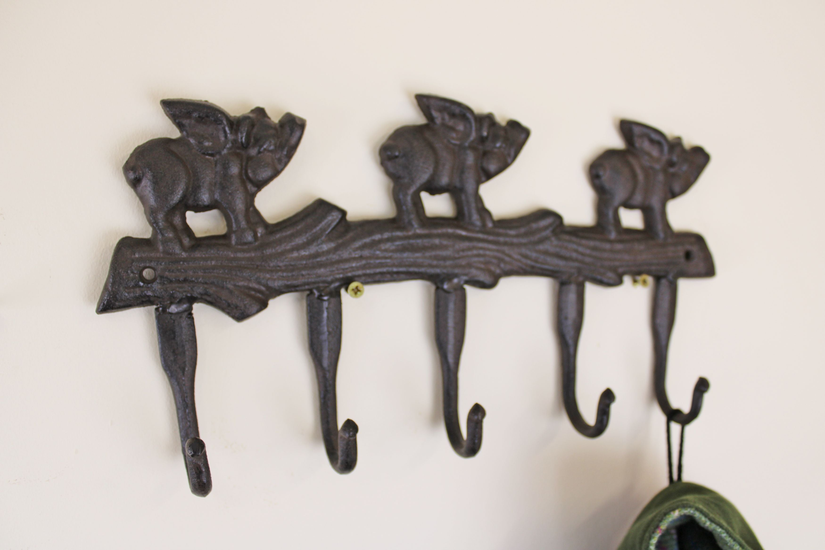 Rustic Cast Iron Wall Hooks, Flying Pigs, Clasps & Hooks by Low Cost Gifts