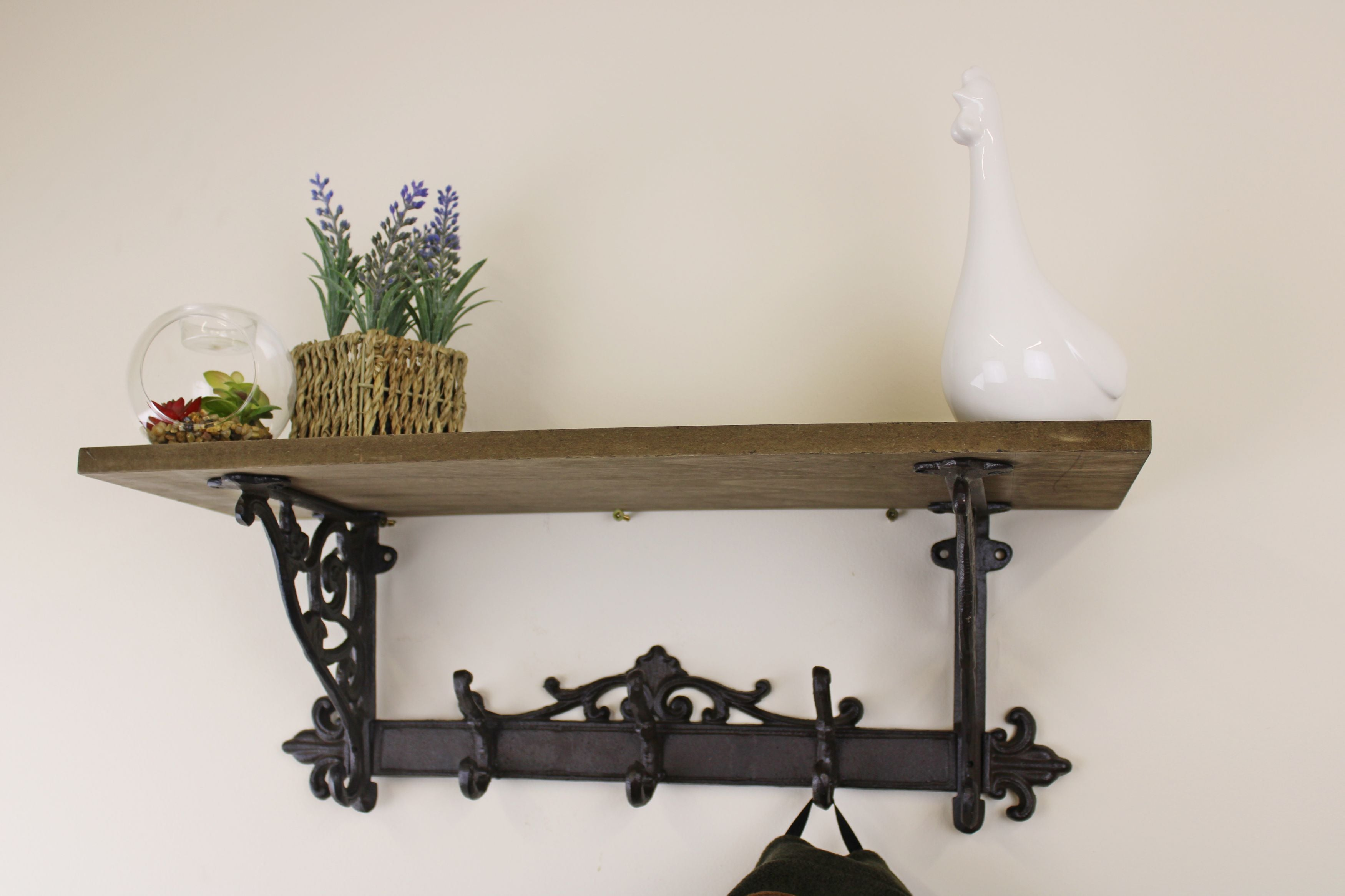 Wooden Wall Shelf with Cast Iron Coat Hooks, Clasps & Hooks by Low Cost Gifts