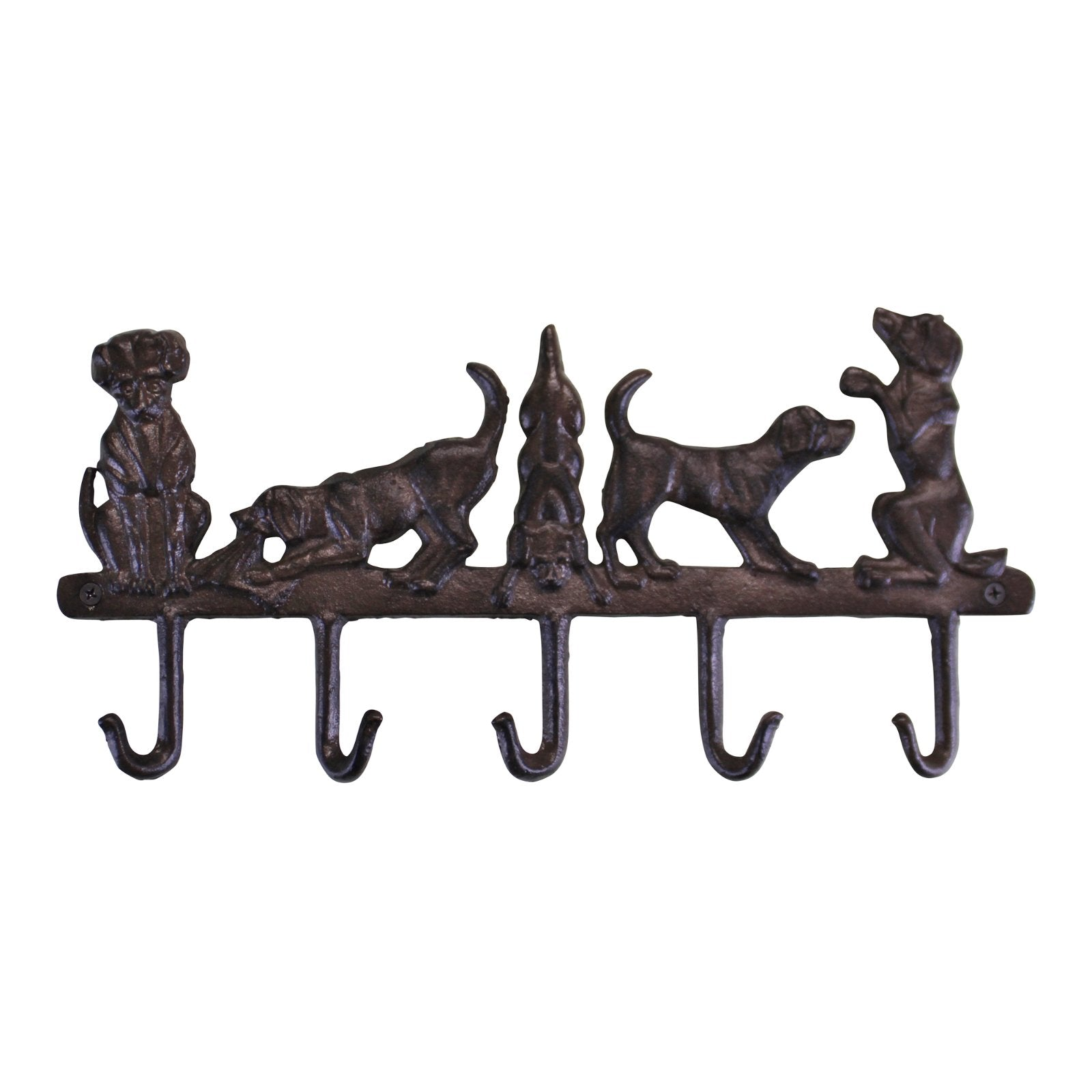 Rustic Cast Iron Wall Hooks, Playful Dog Design With 5 Hooks, Arts & Entertainment by Gifts24-7