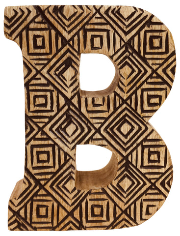 Hand Carved Wooden Geometric Letter B