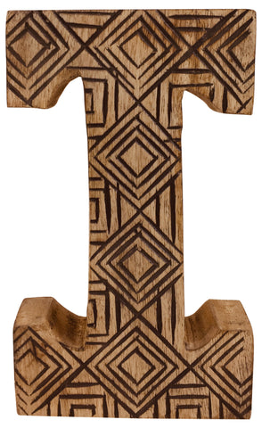 Hand Carved Wooden Geometric Letter I