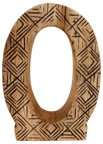 Hand Carved Wooden Geometric Letter O