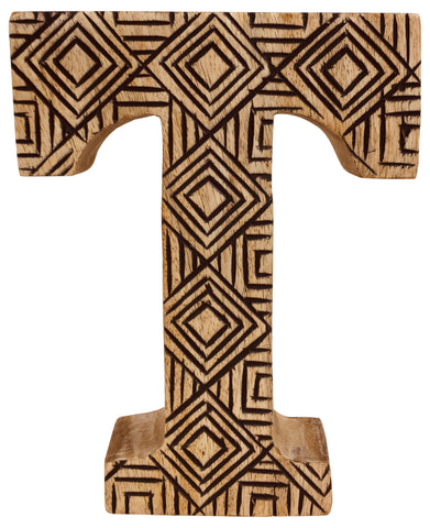 Hand Carved Wooden Geometric Letter T