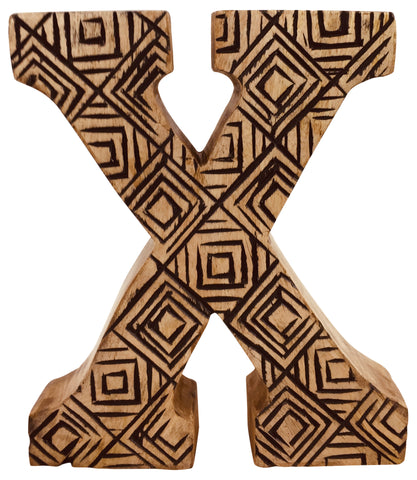 Hand Carved Wooden Geometric Letter X