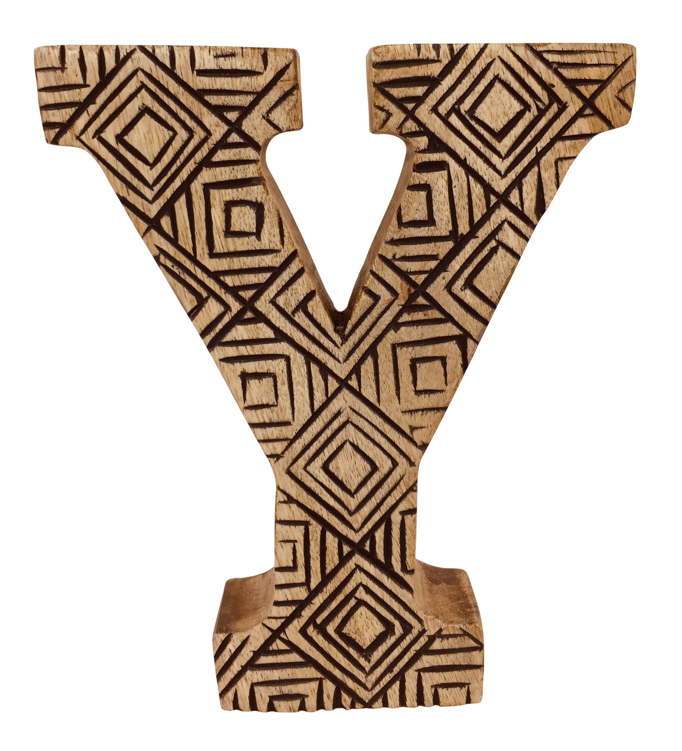 Hand Carved Wooden Geometric Letter Y, Home & Garden by Low Cost Gifts