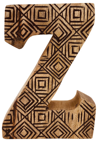 Hand Carved Wooden Geometric Letter Z