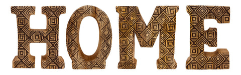 Hand Carved Wooden Geometric Letters Home