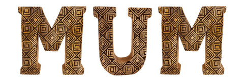 Hand Carved Wooden Geometric Letters Mum