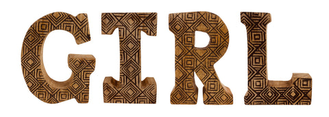 Hand Carved Wooden Geometric Letters Girl