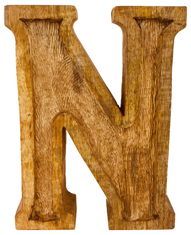 Hand Carved Wooden Embossed Letter N