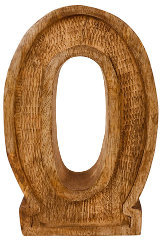 Hand Carved Wooden Embossed Letter O