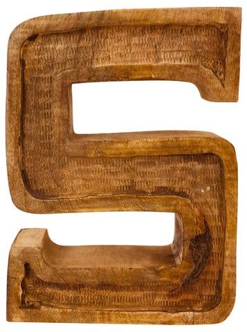 Hand Carved Wooden Embossed Letter S