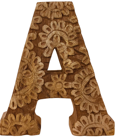 Hand Carved Wooden Flower Letter A