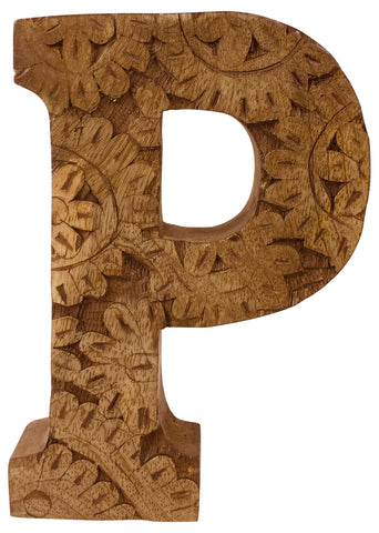 Hand Carved Wooden Flower Letter P