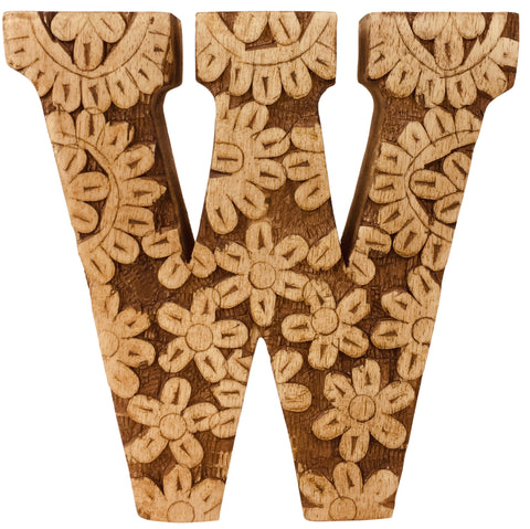 Hand Carved Wooden Flower Letter W