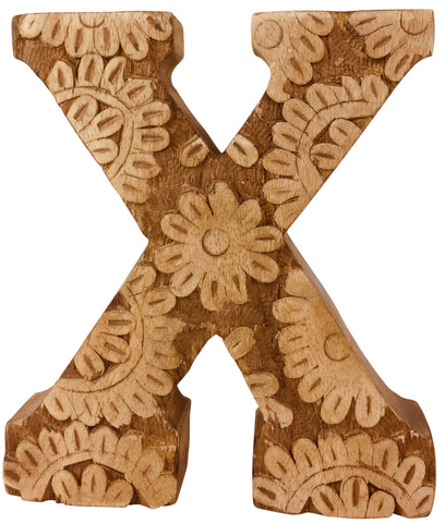 Hand Carved Wooden Flower Letter X