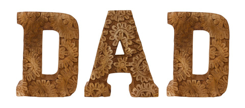 Hand Carved Wooden Flower Letters Dad