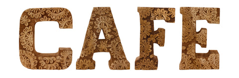 Hand Carved Wooden Flower Letters Cafe