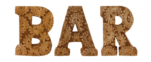 Hand Carved Wooden Flower Letters Bar