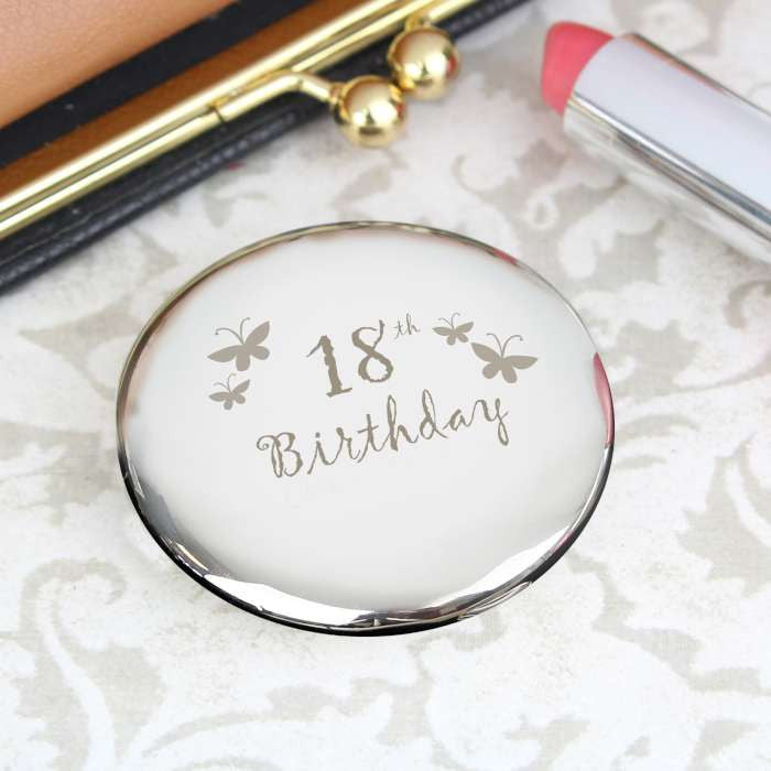 Buy 18th Butterfly Round Compact Mirror