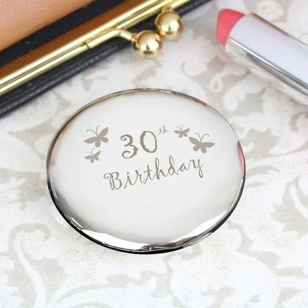 Buy 30th Butterfly Round Compact Mirror
