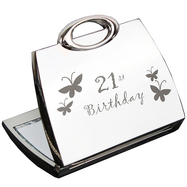 21st Butterfly Handbag Compact Mirror | ShaneToddGifts.co.uk