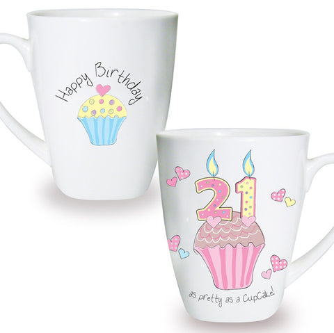 Buy Cupcake 21st Birthday Latte Mug