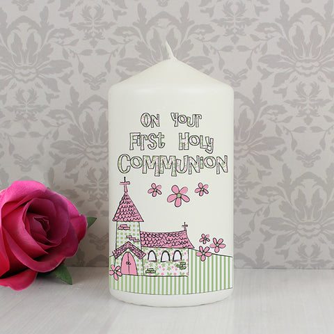 Buy Pink First Holy Communion Church Candle