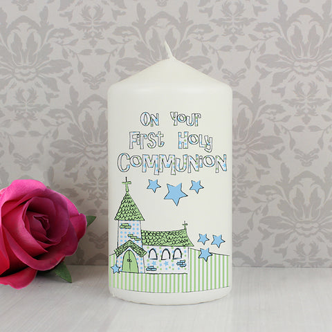 Buy Blue First Holy Communion Church Candle
